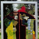 Stahltor mit Figuren, farbig