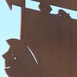 """Stahlskulptur """"Fahrradfahrer"""", Detail"""