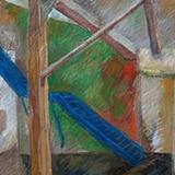 """Tafelbild """"Blaue Treppe"""""""